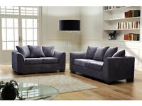 Fabric Jumbo Cord Sofas 3+2+1 or CORNERS with Pouffes in 5 Colours free delivery 12 months warranty