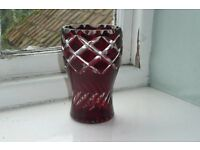 Delightful cut glass vase with cranberry and clear glass