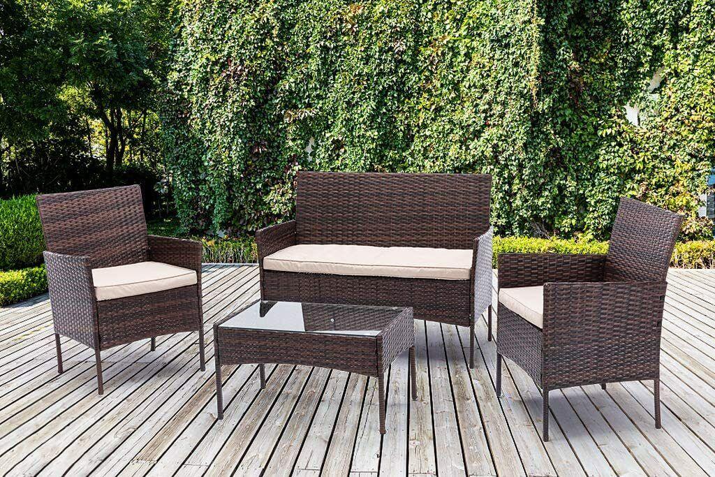 Garden Furniture - 4pcs Rattan Outdoor Garden Furniture Sofa Set Table & Chairs (Roger)