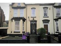 17 Belmont Dr., Tuebrook. 2 bed 1st floor flat with GCH & DG, fitted kitchen. LHA welcome.