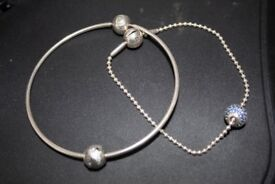 2 Original ESSENCE Silver Pandora Bracelets with charms