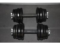 Pair of Cast iron weights dumbells / dumbbells (total weight of 33kg) Home gym, exercise