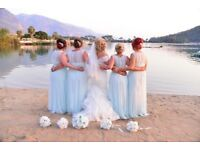 Mint pale green bridesmaid dresses and bouquets