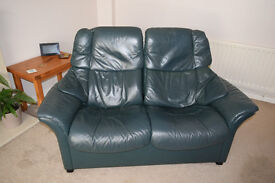 """Stressless"" 2 seater leather sofa with reclining back"