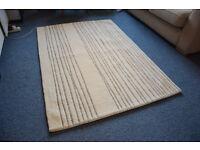 Cream white rug, gray pattern, wool, 120x70cm