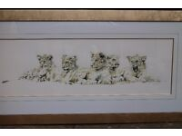 Very large, limited edition signed and framed print by Spencer Hodge ('Lion Cubs')
