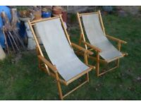 Two 1980s Vintage, Matching, Solid Wood, Deck Chairs with Arm Rests. Frames/Canvas in good condition
