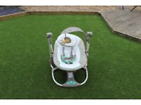 Battery powered vibrating variable speed baby rocker which also plays music.