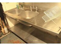 Commercial Stainless Steel Deep Double Bowl Sink
