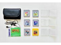 Original Nintendo Gameboy pocket games (6 of) with black gameboy leather case