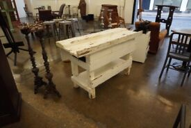 Painted white wooden work bench