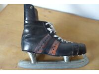 Pair of Vintage Leather Ice Skates. Size 8 (42 European).