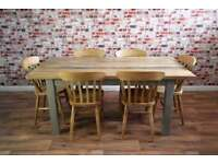 Solid Chunky Slab Rustic Farmhouse Dining Table Set - Six Seater
