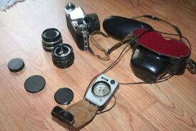Praktica PL Nova 1 camera with 3 lenses and lightmeter