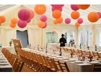 Paper lanterns for wedding or party decorations - 34 various sizes in orange and fuschia pink