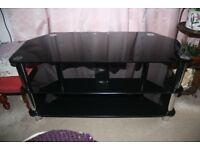 TV Stand - 3 Tier, Black glass and chrome