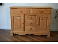 Solid Pine 5 draw 2 door Sideboard.