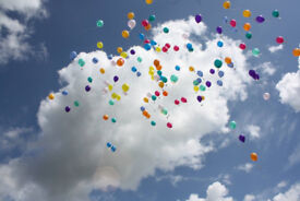 Balloons - Funeral Balloon Release - Wild Seed Filled Balloons - Rainbow & Feather Filled Balloons