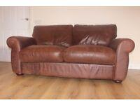 Designer JOHN LEWIS Madison 2 seater distressed brown leather sofa