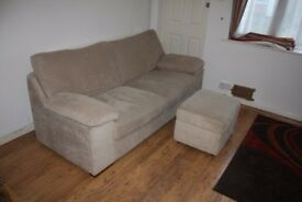 3 seater sofa with footstool, fabric - Smoke Free, No-Pets House