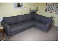 Large Corner Sofa As New John Lewis 'Jackson' Storm Grey