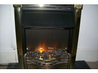 COAL EFFECT BRASS ELECTRIC FIRE WITH REAL ANTHROCITE COALS