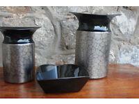 3 pieces of Rosenthal Noir Ceramics. 2 Vases & Trinket Dish.