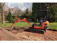 micro / mini digger hire dumper landscape grounds work concrete pads garden free local delivery