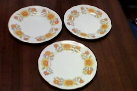3 SUTHERLAND 6 INCH SMALL BONE CHINA SIDE PLATES - YELLOW FLORAL DESIGN-VERY PRETTY