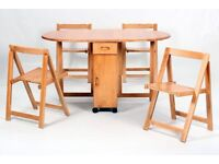 Butterfly Drop Leaf Dining Table with 4 Foldable Chairs