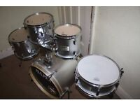 Mapex V Silver 5 Piece Drum Kit with 8in +10in + 12in Toms 18in Bass and 12in Snare - DRUMS ONLY