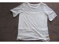 NEXT. Ladies Size 12 Top with panelling/embellishment. Worn Once. £3, can post or collect from tqy.