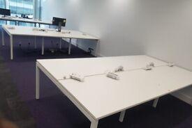 3 White 6-pod/bench office desks/tables