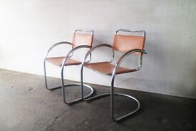 6 1970's mid century Italian tan leather dining / conference chairs (6 available)