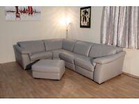 Ex-display Natuzzi Sensor grey leather electric recliner corner sofa and puffee