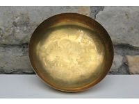 Vintage Old Brass Bowl Oriental Chinese Design. Derverlea Collectible Antique Metal Dish Japanese