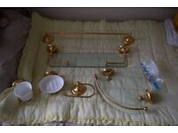 Bathroom accessories set - gold colour and glass shelves with all fittings and in good condition