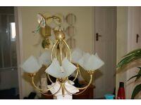 Brass effect ceiling light fitting