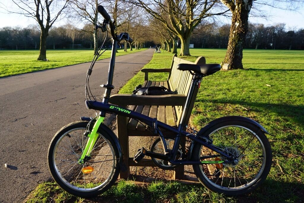 folding bike b 39 twin hoptown 320 blue designed for travelling around town in coventry west. Black Bedroom Furniture Sets. Home Design Ideas