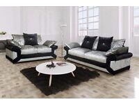 Crushed velvet sofas free footstool