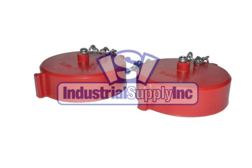 """Fire Hose Hydrant Cap and Chain   2-1/2"""" Female NST/NH   Polycarbonate   2 Pack"""