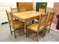 Stunning Rare Antique Hand Carved Oak Dining Table & 6 Chairs (Nationwide Delivery Available)