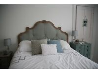 French shabby chic style Blue Linen headboard and bedside cabinets, table and rugs