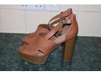 ladies brown chunky heel sandals size 9