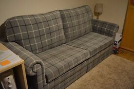 Large 3 1/2 seater newly upholstered full double bed settee with new cushions, offers welcome