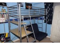 Metal High Sleeper with Desk, Chair and Futon