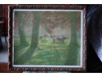 Watercolour painting 'Forest with Cows' signed Jan Sluijters Jr (1914-2005)