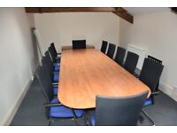 Boardroom table and 12 chairs (optional matching lockable side units)