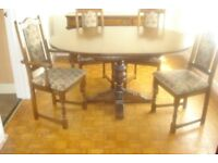 OLD CHARM dark oak Dining Room TABLE and 4 CHAIRS.