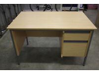 Office Bedroom Study Desk - 2 Drawers with Metal Legs - 120cm Wide